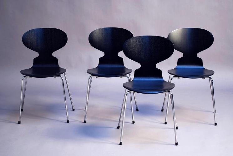 Arne Jacobsen Ameise Stuhl 4x 3101 ameisen stühle in lasierter esche schwarz arne jacobsen